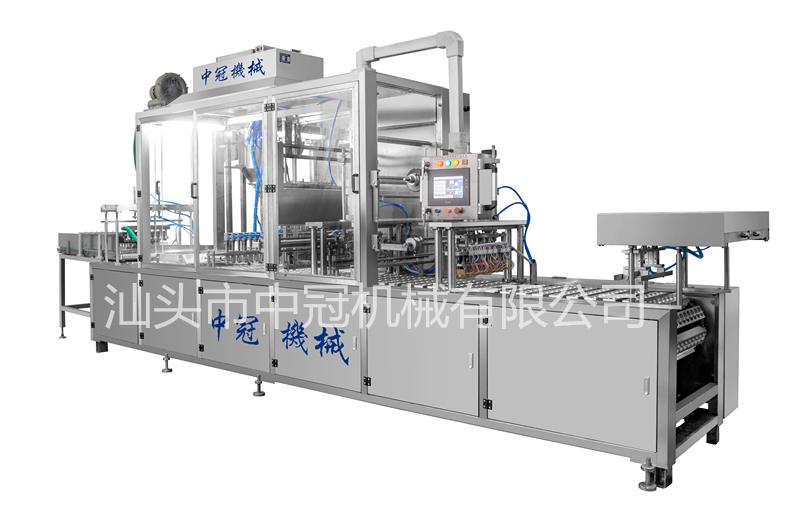 CFD-SF-8型全自動伺服充填封口包裝機(瓶、杯共用,單片膜伺服放膜)